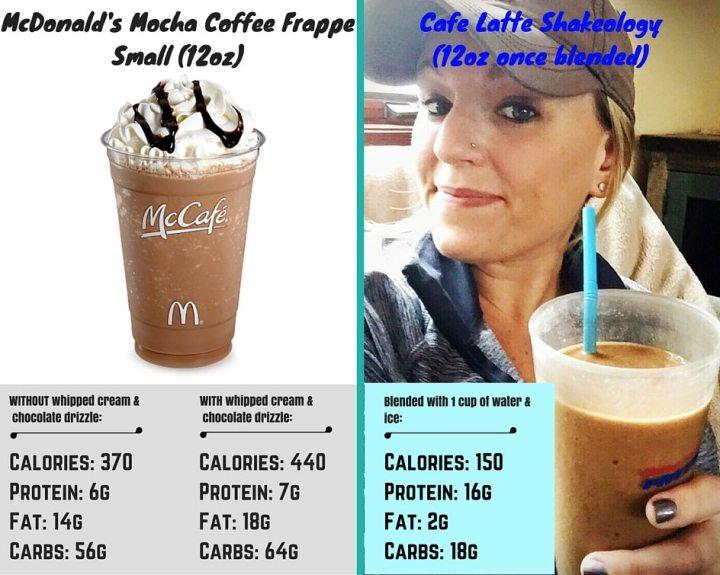 Cafe Latte Shakeology vs. McDonald's Mocha CoffeeFrappe